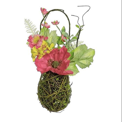 """12"""" Decorative Red Poppy and Orange Wildflower Artificial ... on Decorative Wall Sconces For Flowers Hanging Baskets Delivery id=74767"""