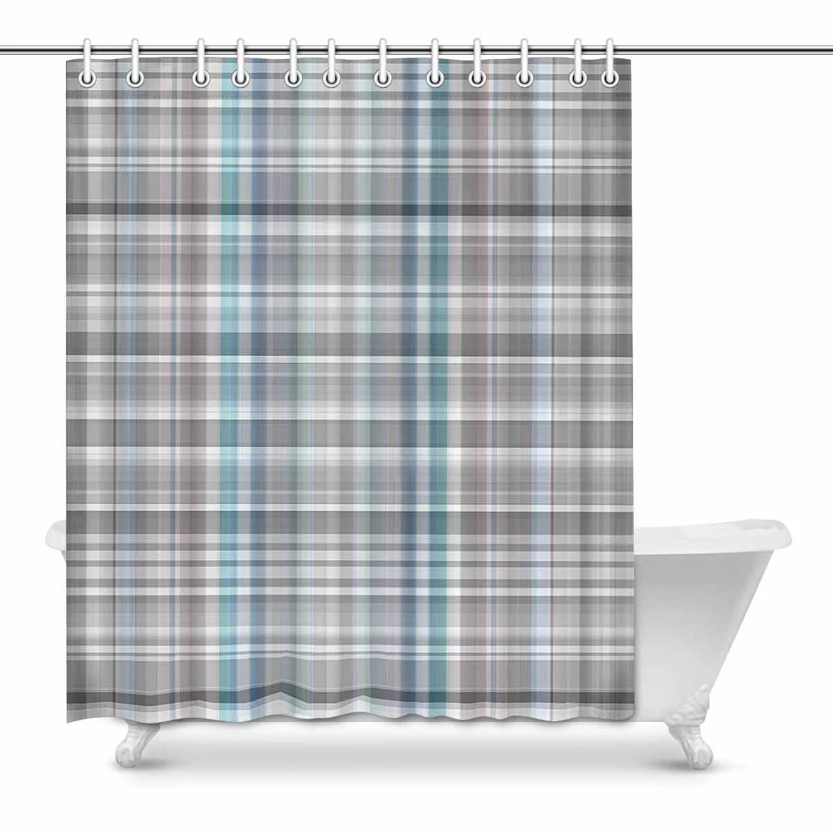 mkhert abstract latticework plaid elegant gray gingham check waterproof shower curtain decor fabric bathroom set 60x72 inch
