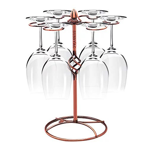 sunnyac scrollwork bronze wine glass rack elegant freestanding stemware holder stand with 6 hooks for home and bar storage and artistic tabletop