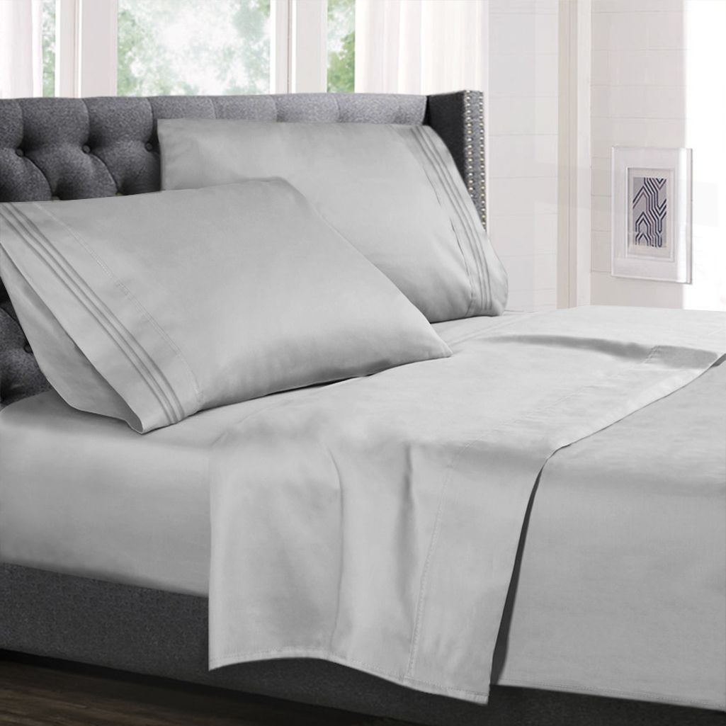 Cal King Size Bed Sheets Set Silver Gray Luxury Bedding