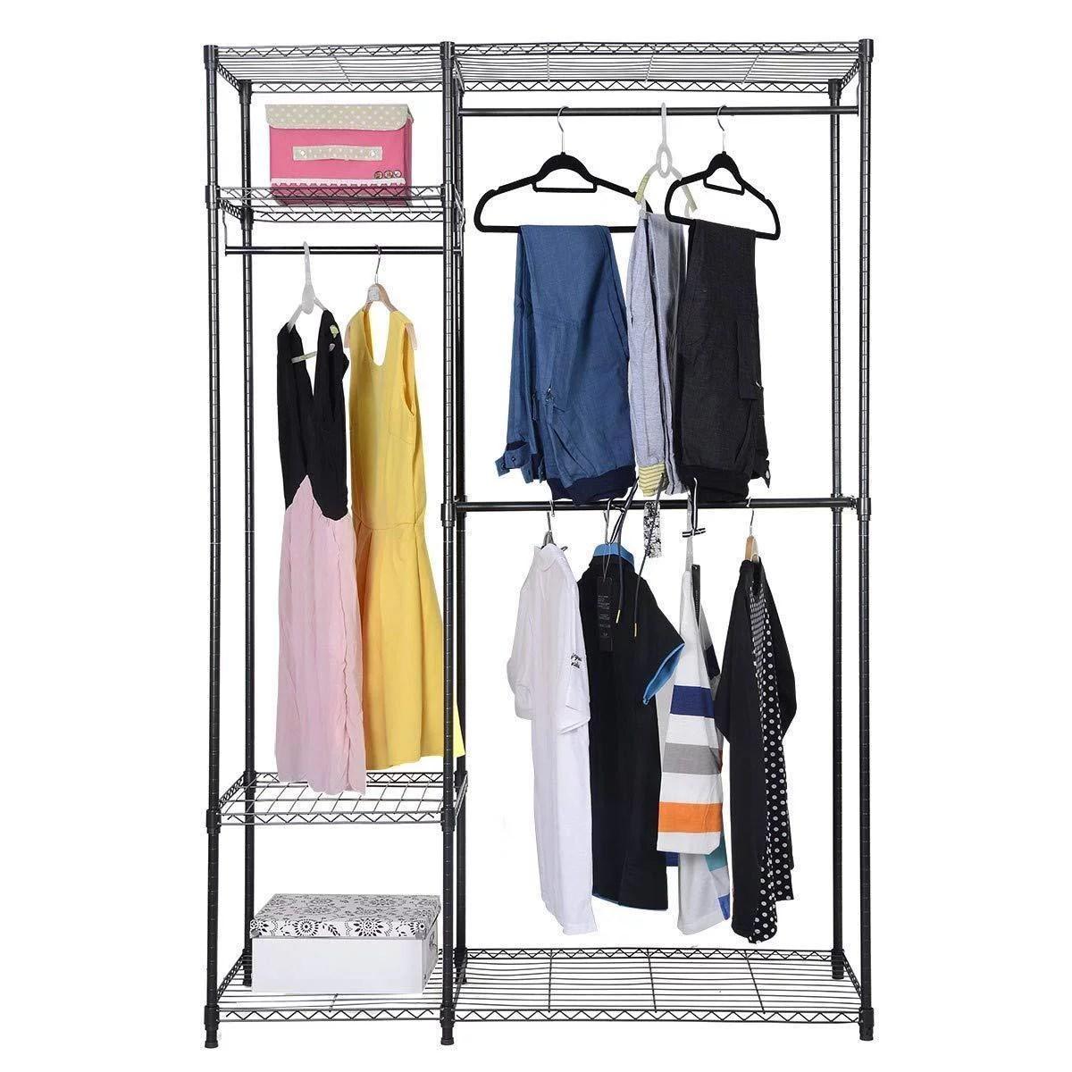 costway 48 x18 x71 closet organizer garment rack portable clothes hanger home shelf