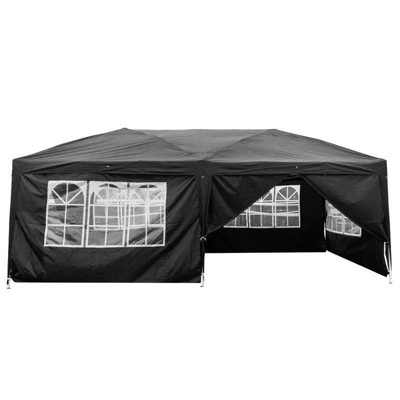 ubesgoo ez pop up patio canopy tent heavy duty gazebo outdoor party with 6 sidewalls 10 x 20 ft black