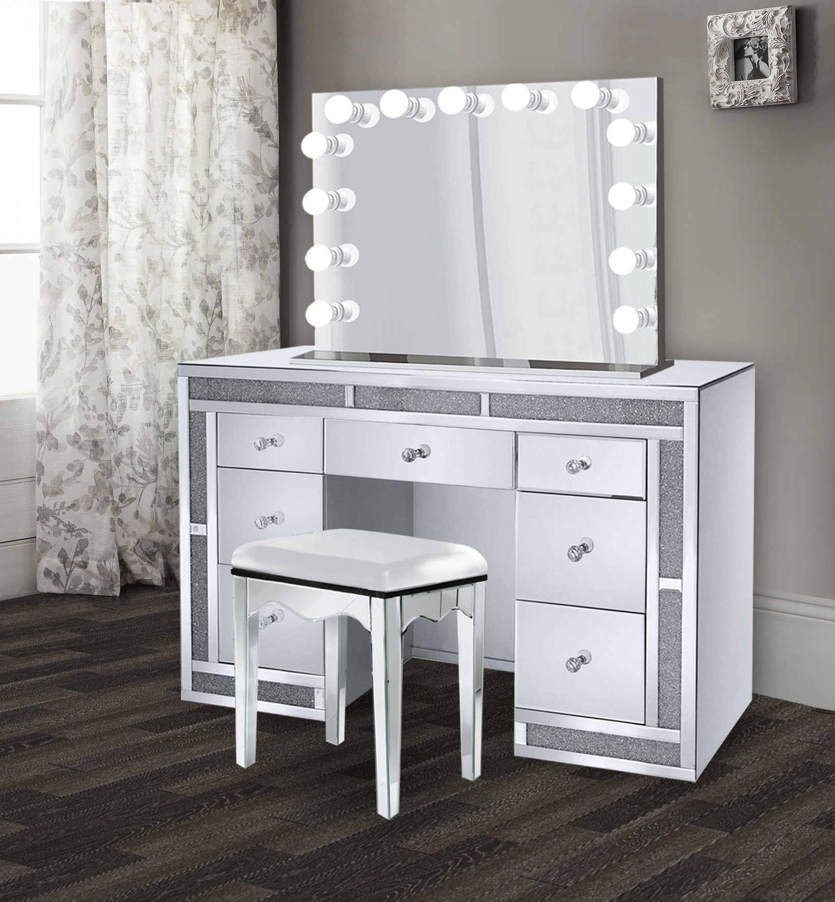 glam 1 2crt crystal makeup vanity set includes glam hollywood mirror makeup table with multi drawers