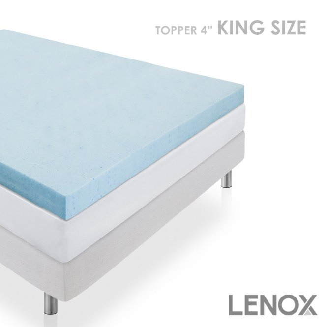 Memory Foam Mattress Topper 4 Inch Thick Cooling Gel King Size