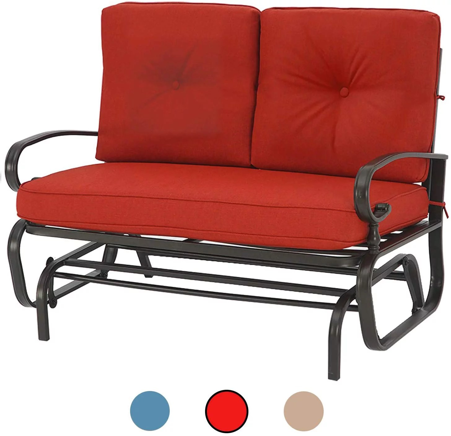 suncrown outdoor swing glider rocking chair patio bench for 2 person garden loveseat seating patio steel frame chair set with cushion red