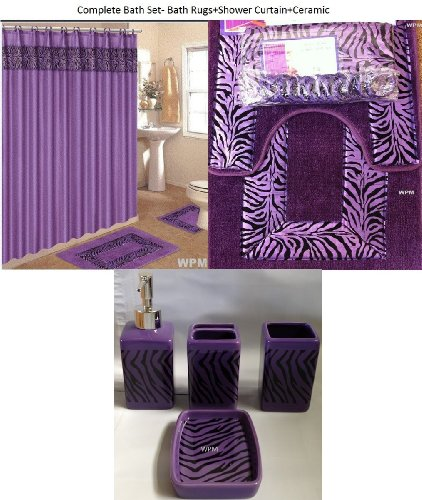 19 piece bath accessory set purple zebra bathroom rugs shower curtain accessories