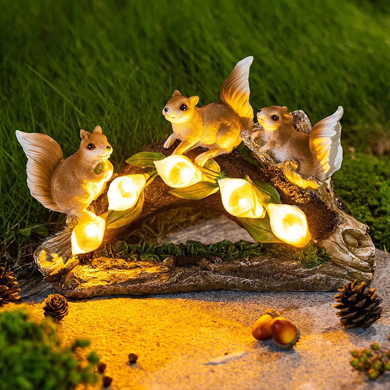 xelparuc garden squirrel figurines garden art for fall winter garden decor solar statue outdoor waterproof with 5 calla lily lights garden gift for