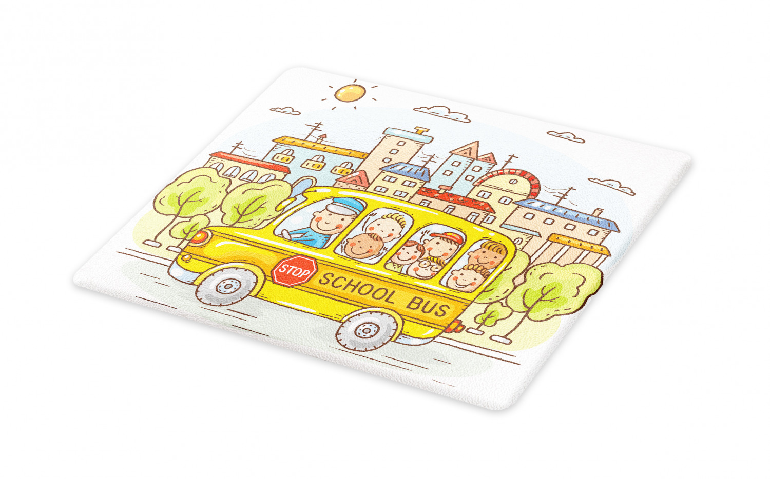 School Bus Cutting Board Bus Filled With Happy Toddlers