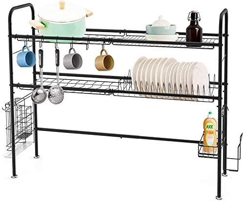 heomu over the sink dish drying rack 2 tier sus304 large dish drainer for home kitchen counter storage large stainless steel dish dryer black sink