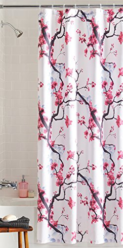 pink blossom floral fabric shower curtain asian cherry tree branch flower decor