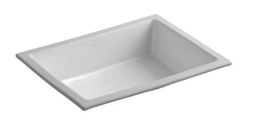 kohler 2882 95 vitreous china undermount rectangular bathroom sink 22 x 17 5 x 8 19 inches ice gray