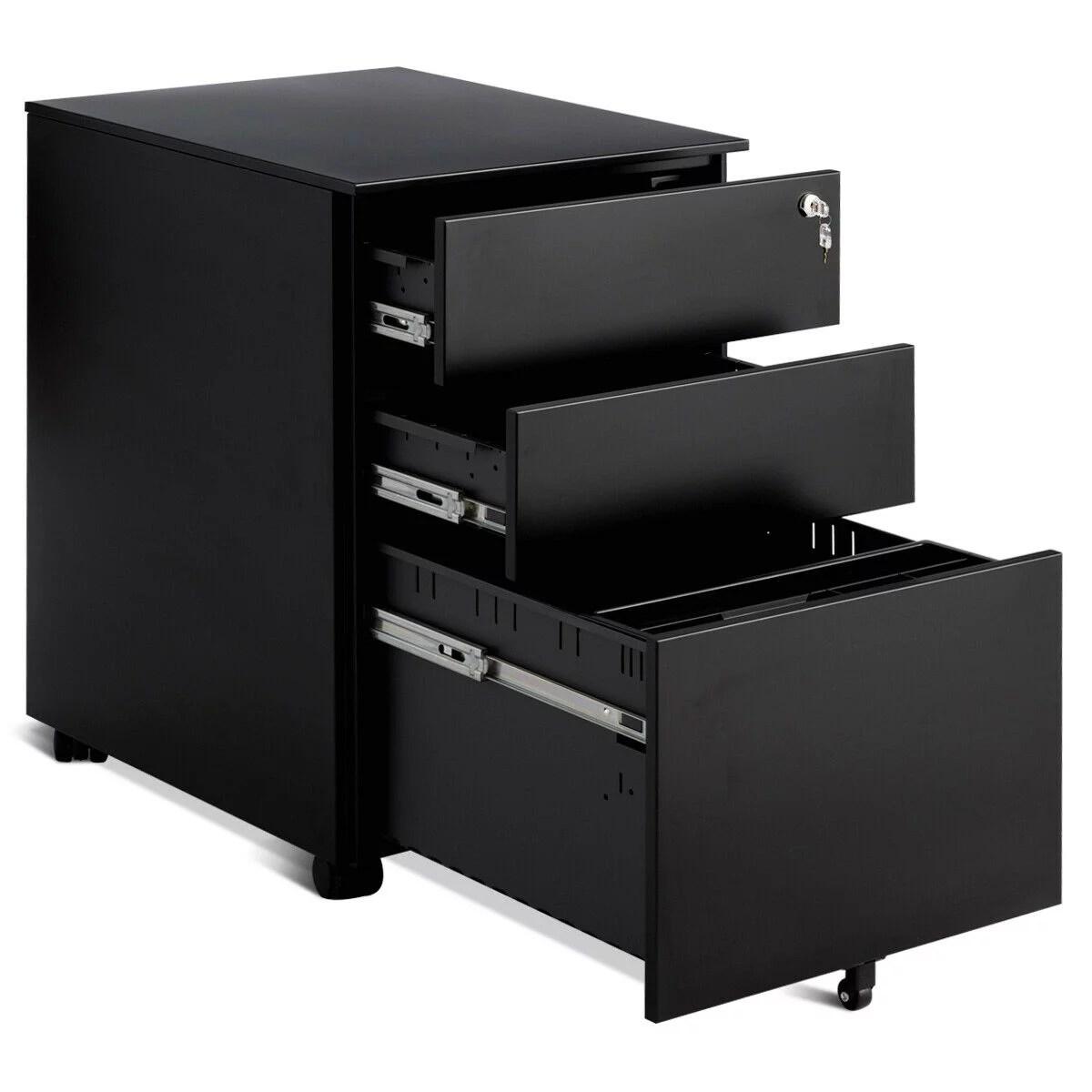 White File Cabinet Locking 3 Drawer Rolling Under Desk Metal