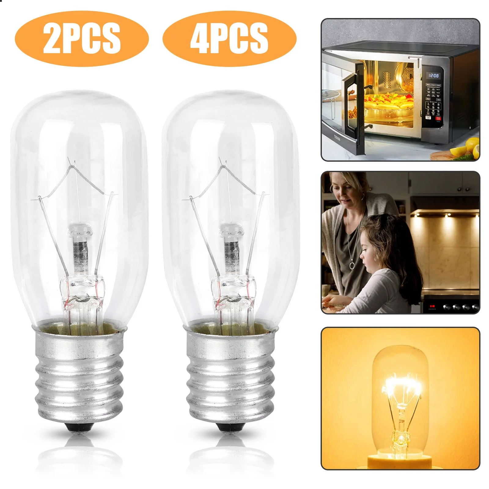eeekit 2 4 pcs microwave light bulb dimmable with ac 110 125v 40w incandescent lamp bulbs for most general electric microwave oven universal type