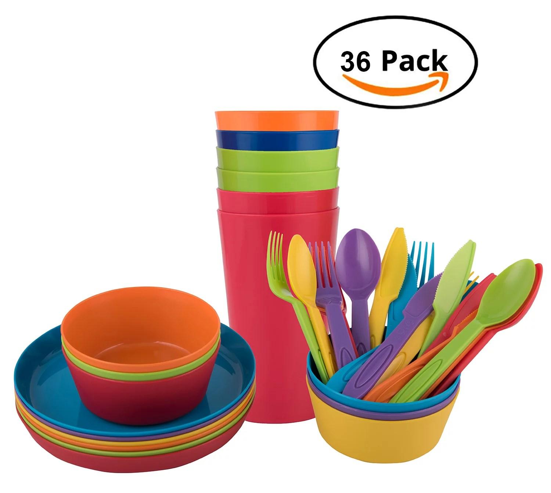 melange 36 piece reusable plastic dinnerware set for kids and toddler bpa free utensils for children 6 dinner plates 6 bowls 6 tumblers and 18 pc