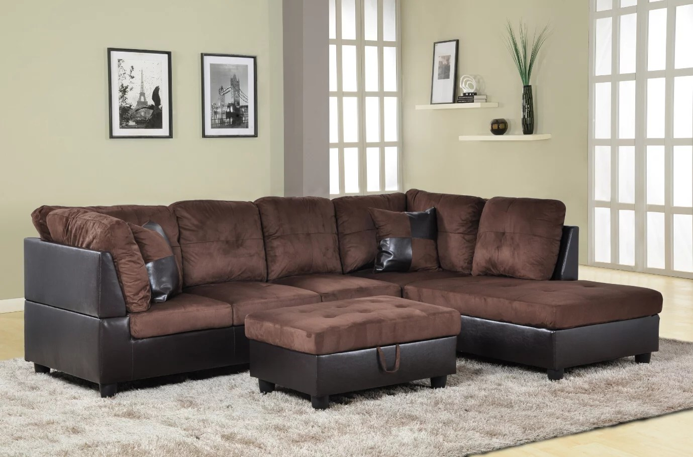for u furnishing charming chocolate microfiber sectional sofa right facing chaise 74 5 d x 103 5 w x 35 h