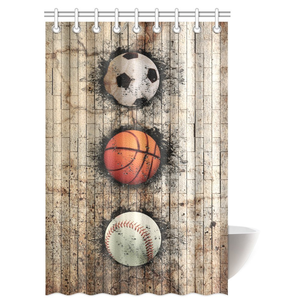 mypop sports decor shower curtain baseball soccer basketball ball embedded in stone wall fabric bathroom shower curtain with hooks 48 x 72 inches
