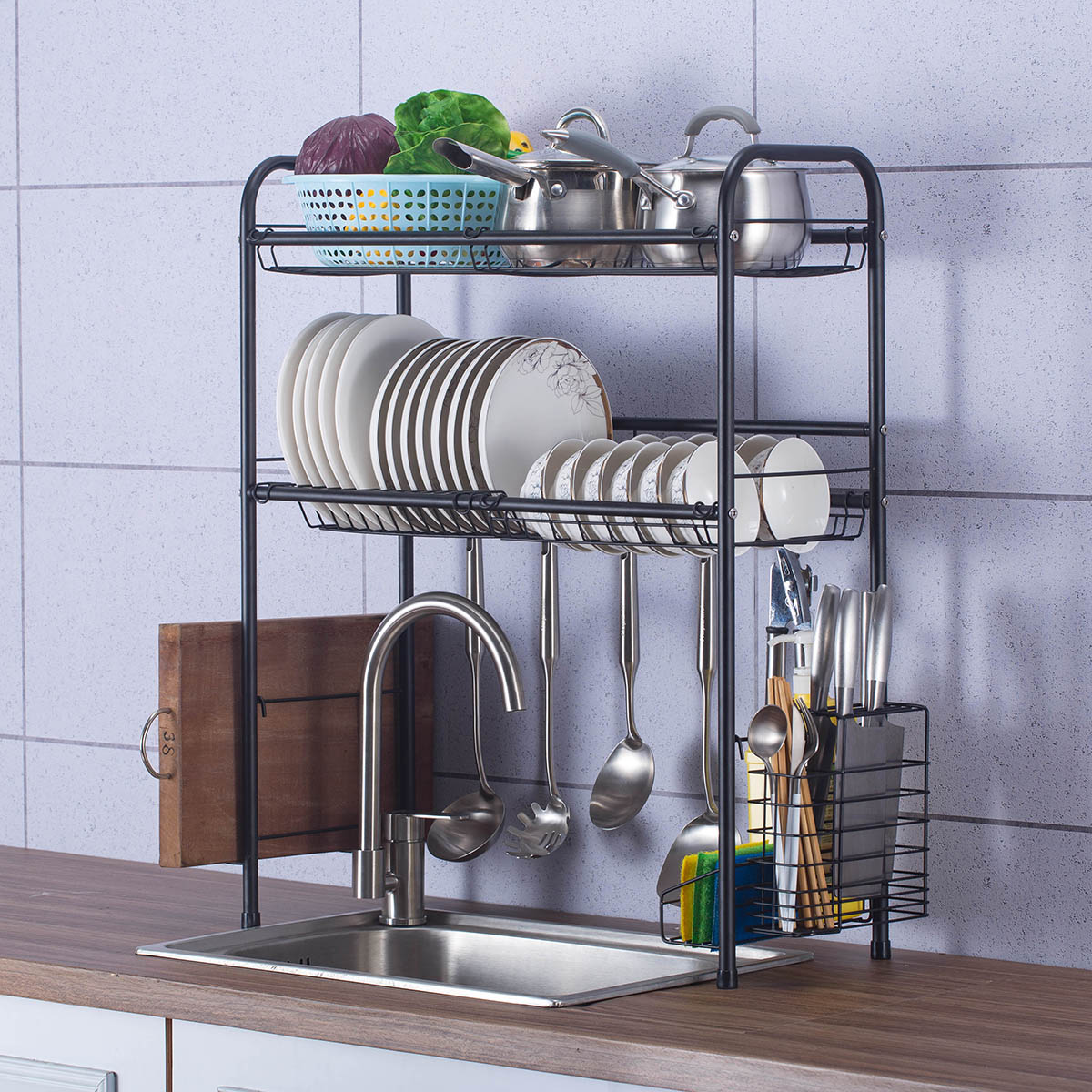 stainless steel dish drying rack over sink drain rack for home kitchen counter space saving