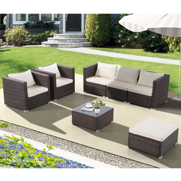 outdoor wicker patio furniture sectional sofa set Uenjoy 7PC Outdoor Furniture Rattan Wicker Patio Sectional
