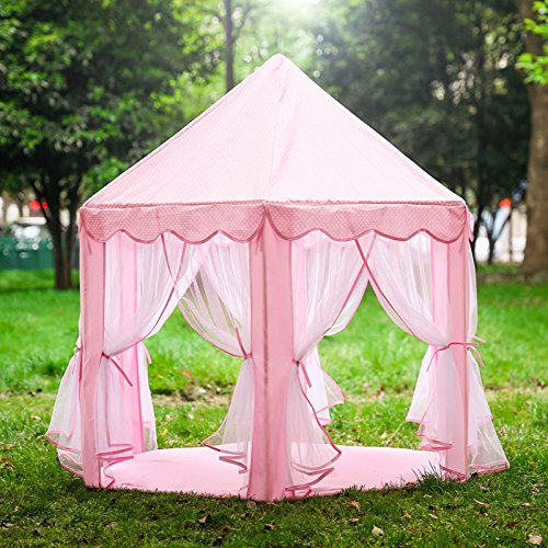 princess tent for girls indoor and outdoor hexagon play castle house pink