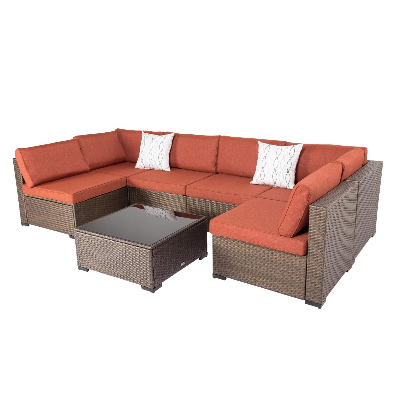 kinbor 7pcs outdoor wicker rattan patio furniture sectional sofa set golden black gradients walmart com