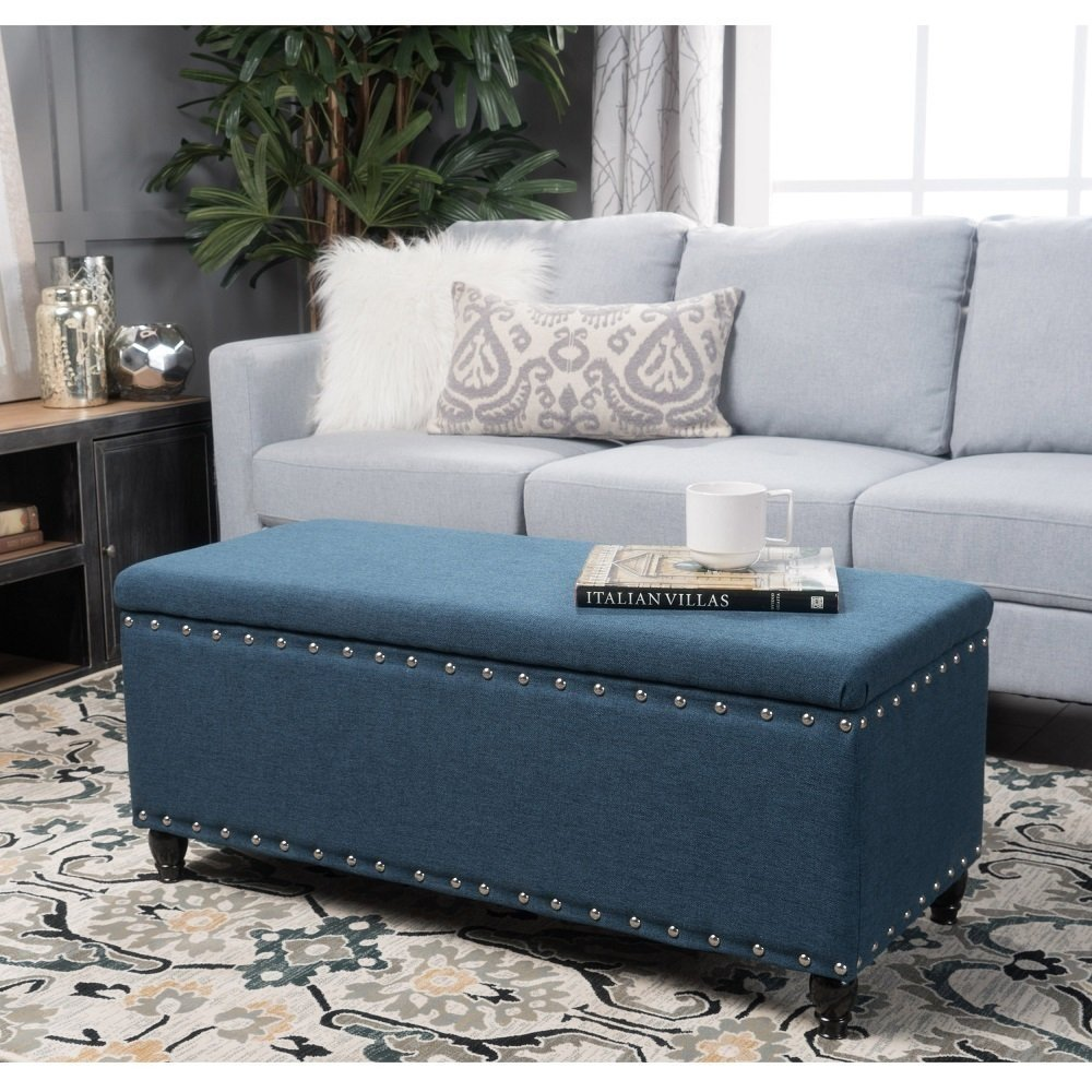christopher knight home tatiana nailhead studded fabric storage ottoman bench navy blue walmart com