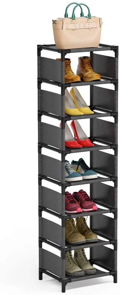 7 tiers vertical shoe rack narrow shoe shelf space saving shoe organizer for entryway door walmart com