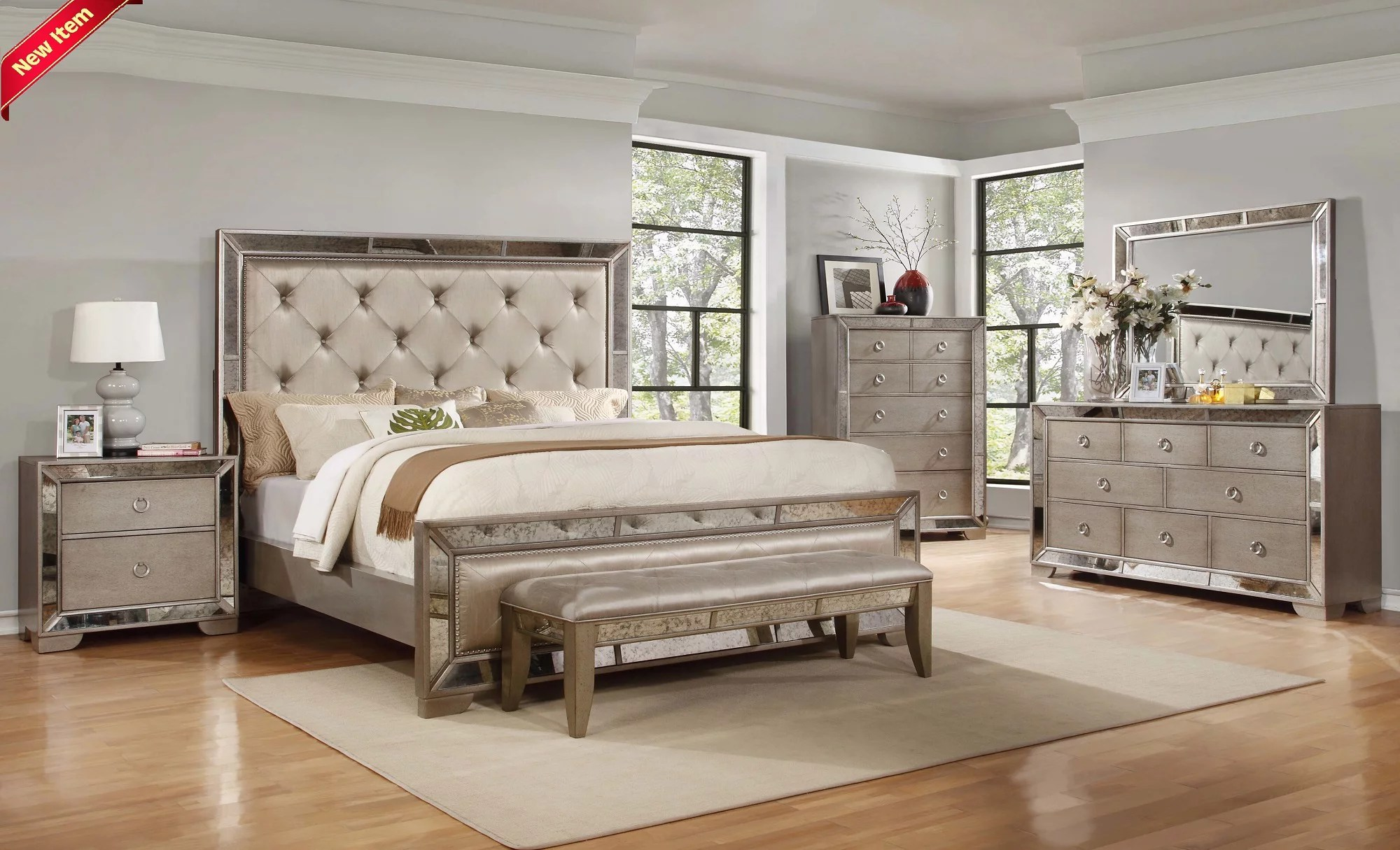 classic contemporary ava bedroom collection silver bronze antiqued mirrored finish queen size bed 4pc set tufted headboard dresser mirror nightstand