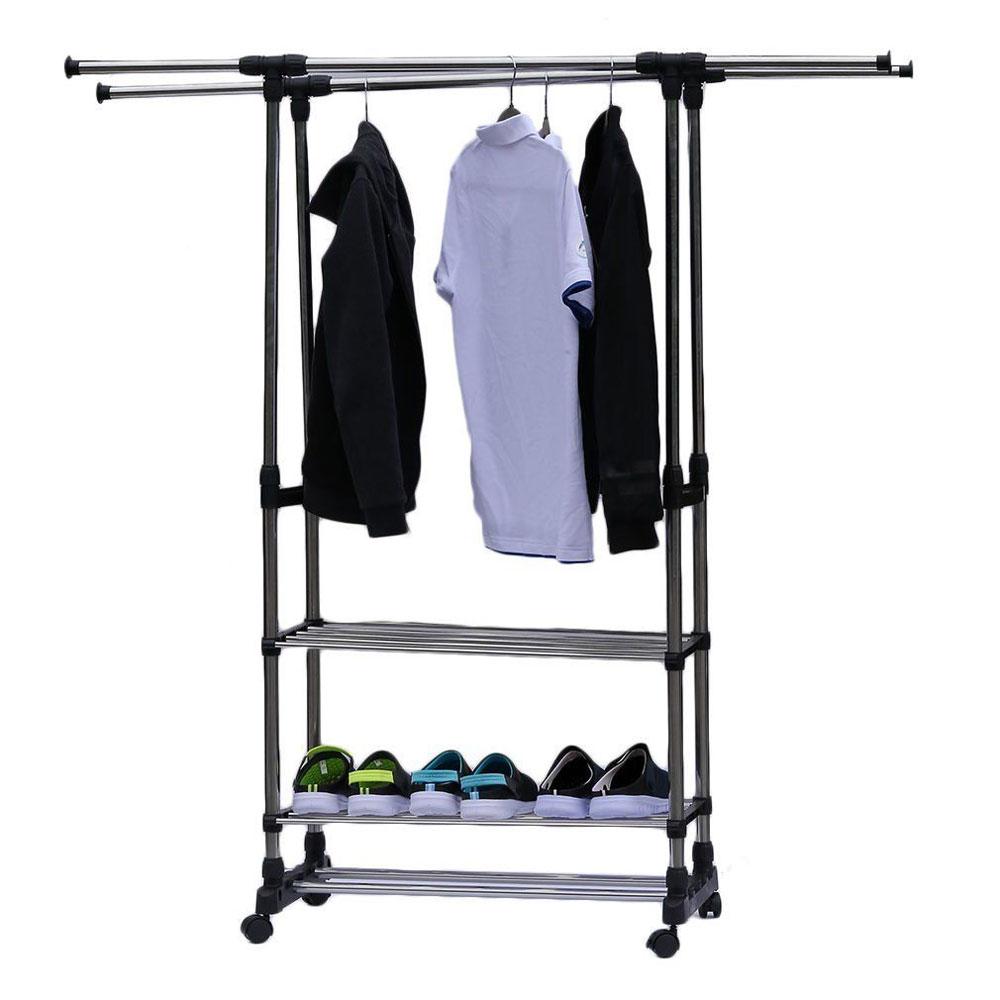 adjustable coat rack shoe bench entryway storage shelf 3 tiers hat umbrella clothing rack