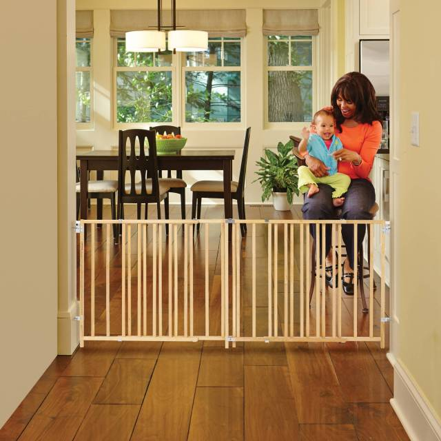 North State Natural Wood Extra Wide Swing Baby Gate 60 103 Walmart Com