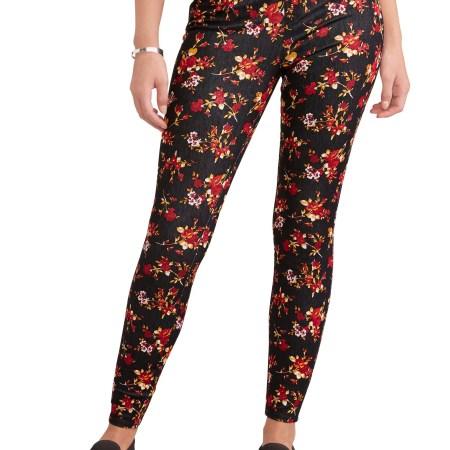 Walmart Time & True Black Floral Jeggings
