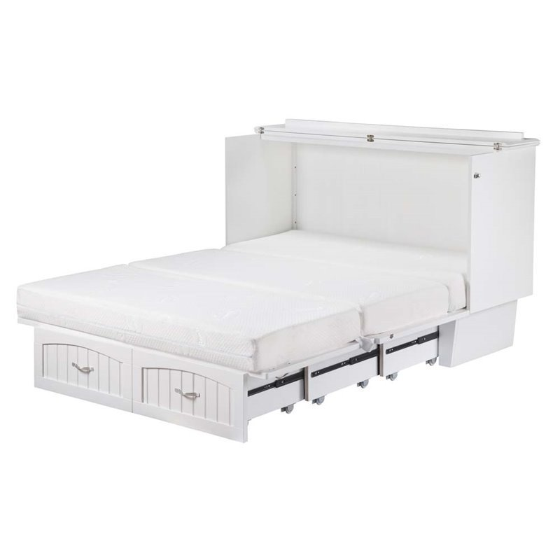 leo lacey queen murphy bed chest in white