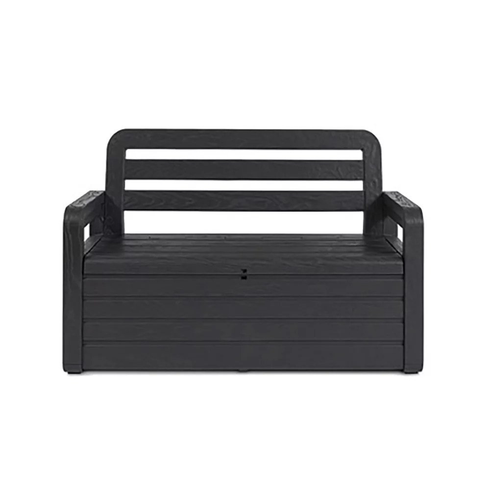 toomax foreverspring 70 gallon outdoor deck storage box chest bench dark gray