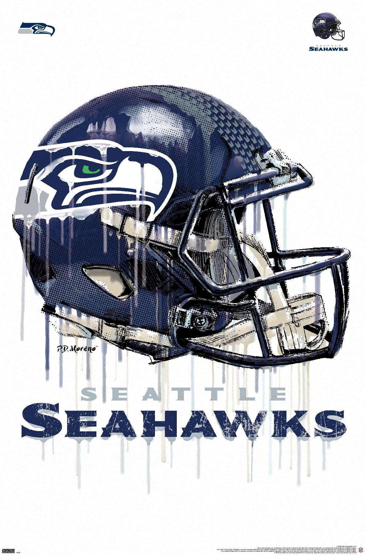 nfl seattle seahawks drip helmet 20 poster walmart com