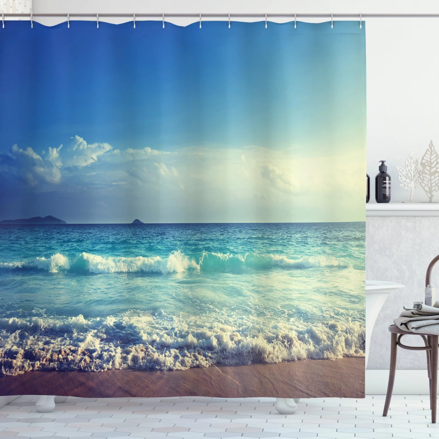 ocean shower curtain tropical island paradise beach at sunset time with waves and the misty sea image fabric bathroom set with hooks cream