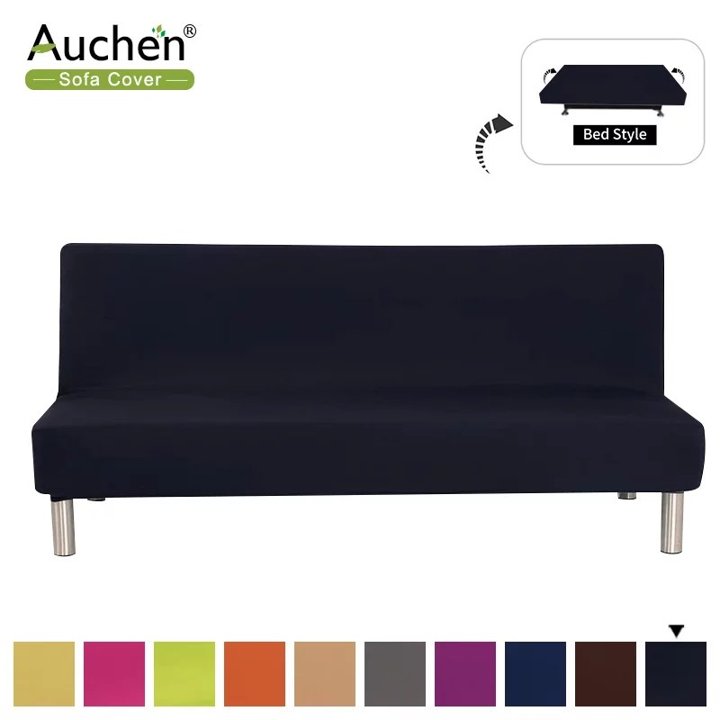 stretch armless couch covers polyester spandex sofa slipcover sofa cover furniture protector with elastic bottom solid color armless sofa bed cover