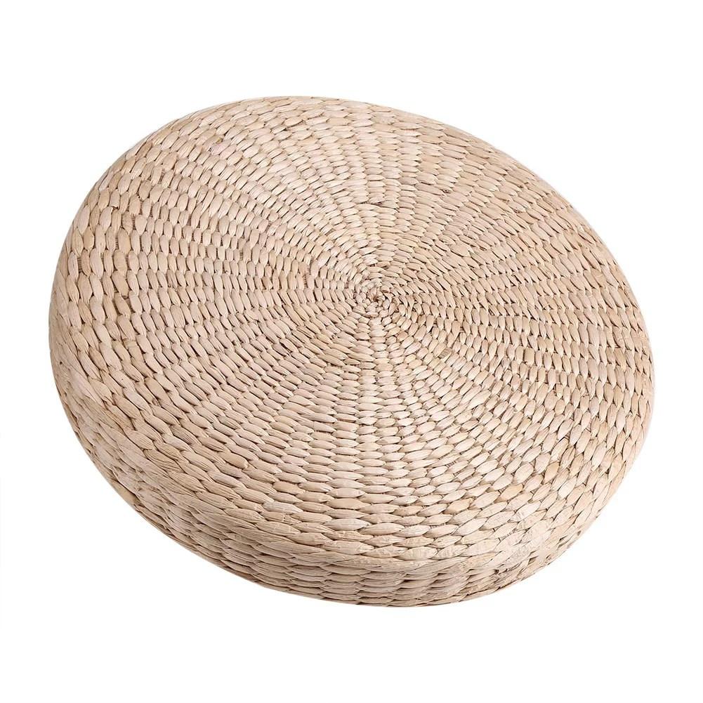 garosa coussin de plancher de coussin de tatami de pouf rond de 40cm tapis de yoga doux de meditation de paille tapis de yoga doux coussin de tatami