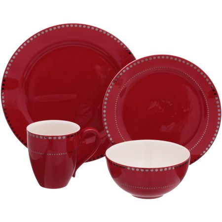 Mainstays 16-Piece Gold Dotted Ceramic Dinnerware Set
