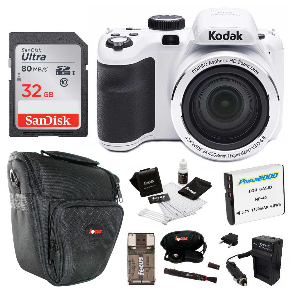 Kodak PIXPRO AZ421 Digital Camera (White) with 32GB SD Card and Accessory Kit