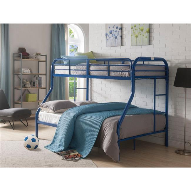 Metal Twin Over Full Bunk Bed with 2 Side Ladders, Blue ...