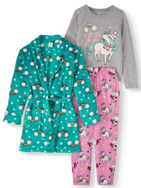 Wonder Nation Girls 3-Piece Pajama Set