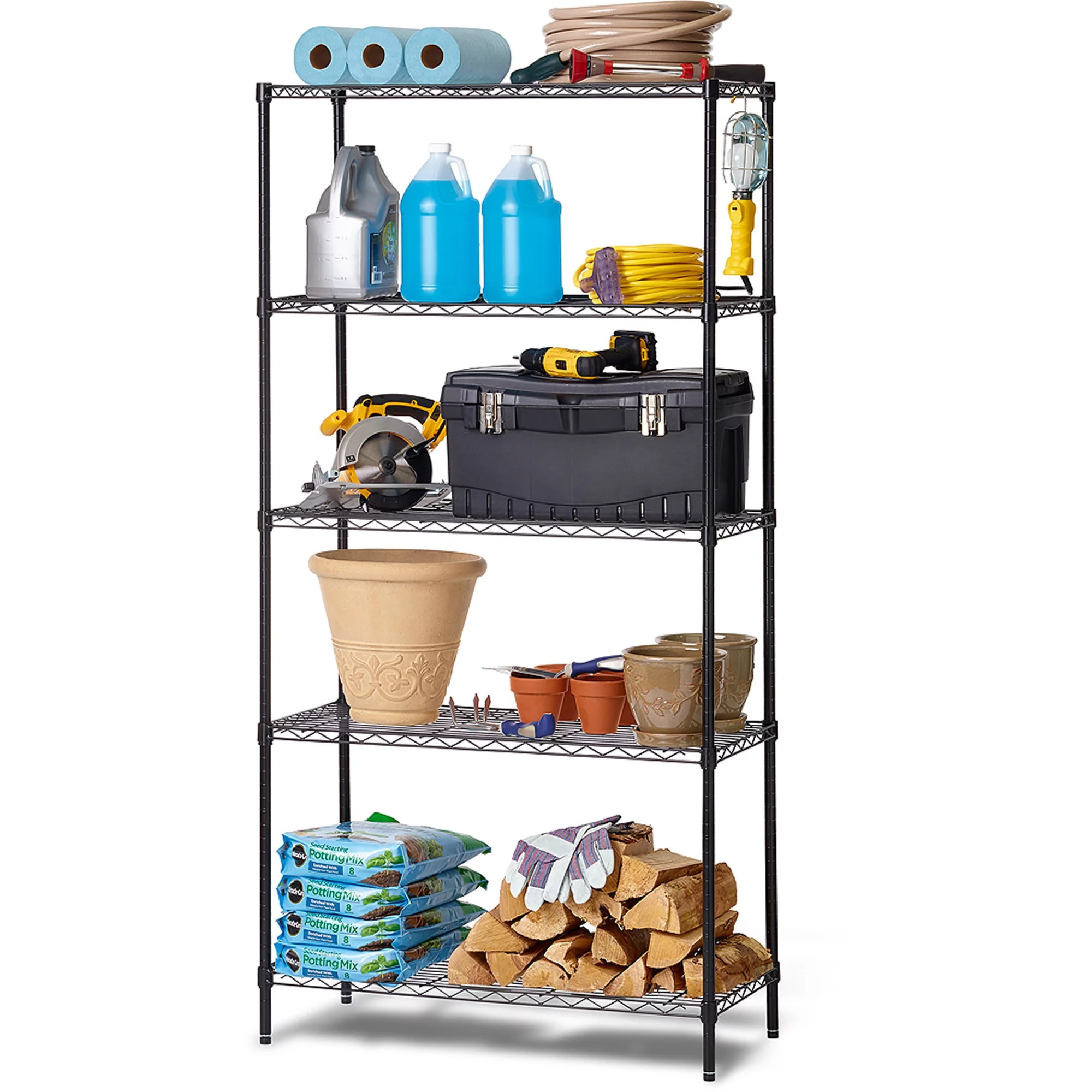 work choice 5 tier commercial wire shelving rack black walmart com