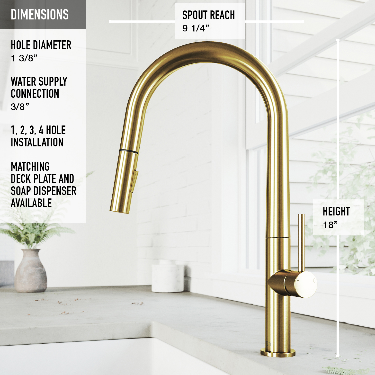vigo greenwich pull down spray kitchen faucet in matte brushed gold