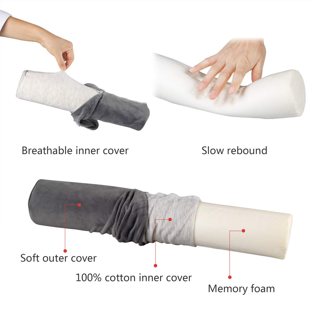 body pillow with pillowcase cover comfort neck roll pillow memory foam round bolster pillow