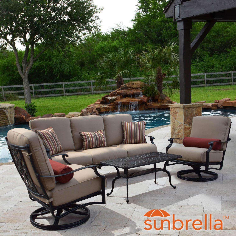 bocage 4 piece cast aluminum patio conversation set w sofa swivel rocker club chairs sunbrella heather beige cushions by lakeview outdoor designs