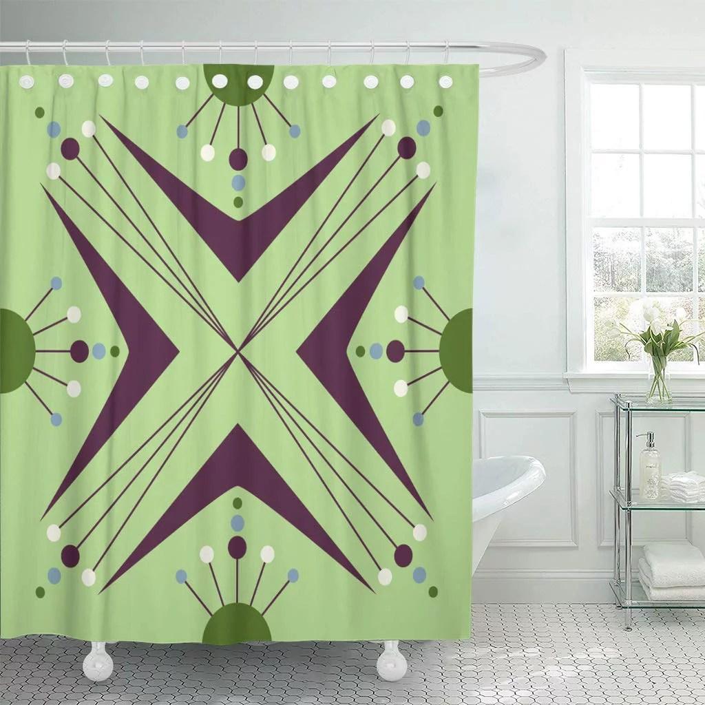 ksadk green 1940s mid century modern 1950s style vintage retro atomic purple 1960s abstract circle shower curtain bathroom curtain 66x72 inch