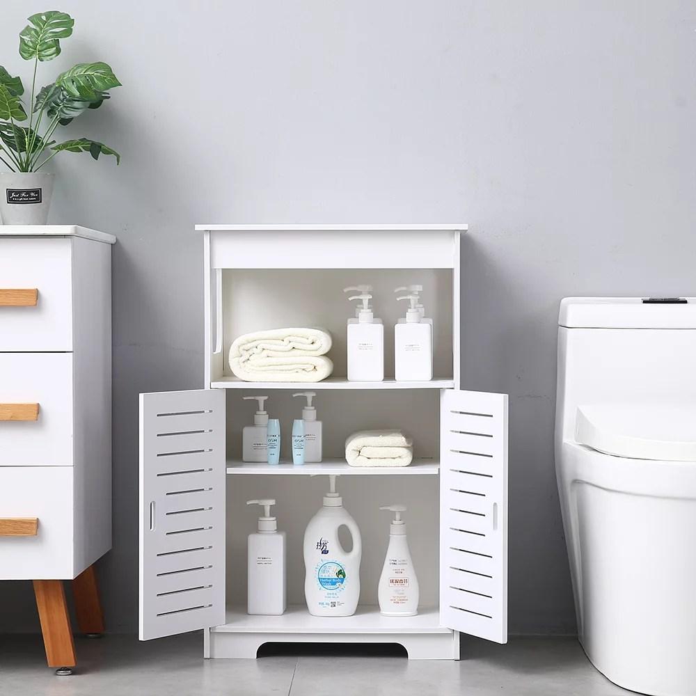 bathroom storage cabinet urhomepro cabinet organizers w doors and shelves bathroom floor standing cabinet utility storage shelf for living room