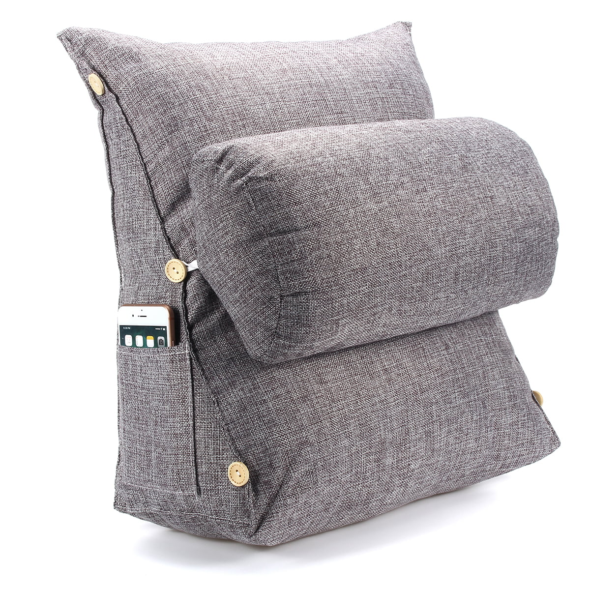 adjustable wedge cotton back cushion pillow office sofa bed backrest waist support smoke grey size 18 x18 x8