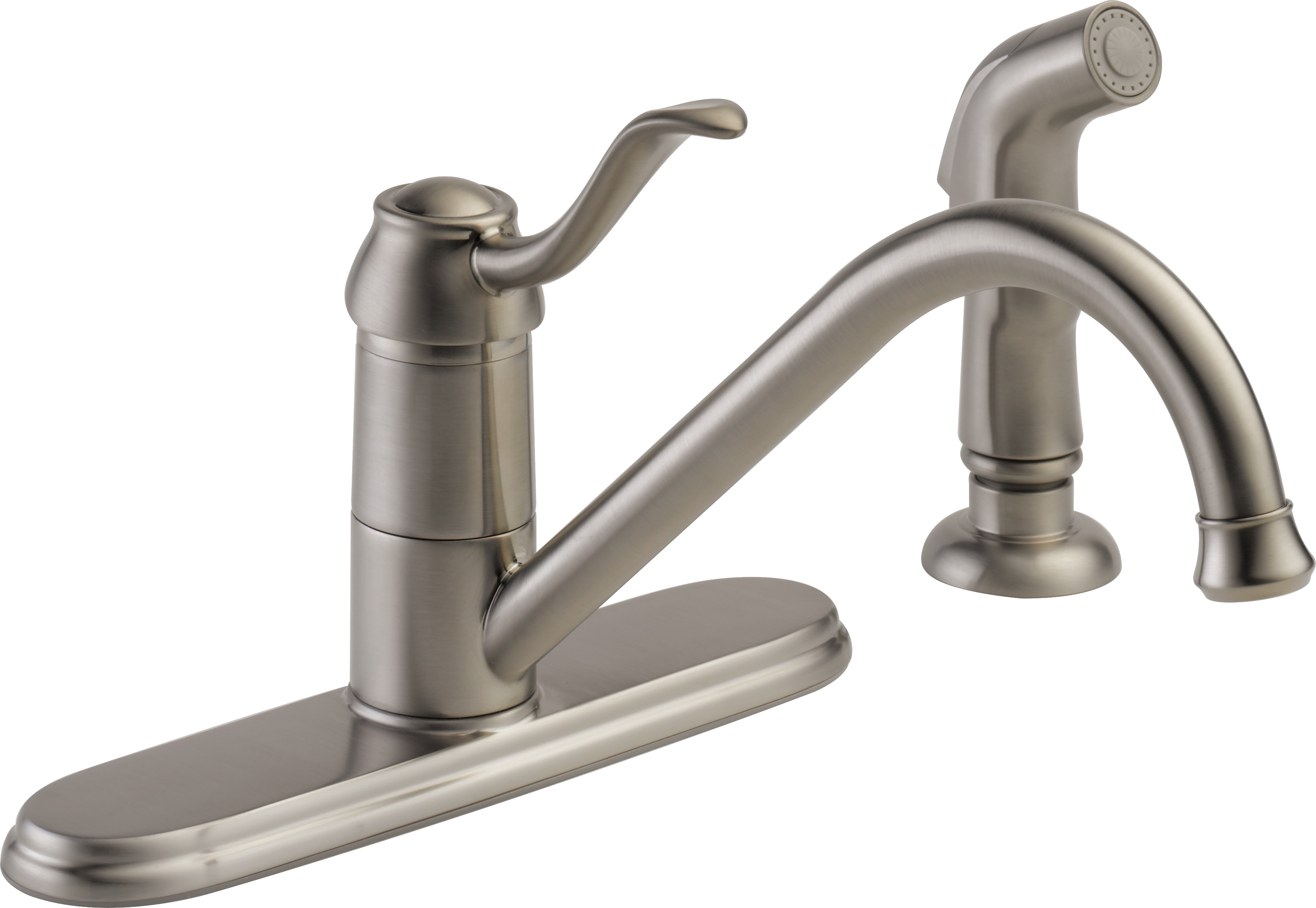 peerless choice single handle kitchen faucet with side sprayer in stainless