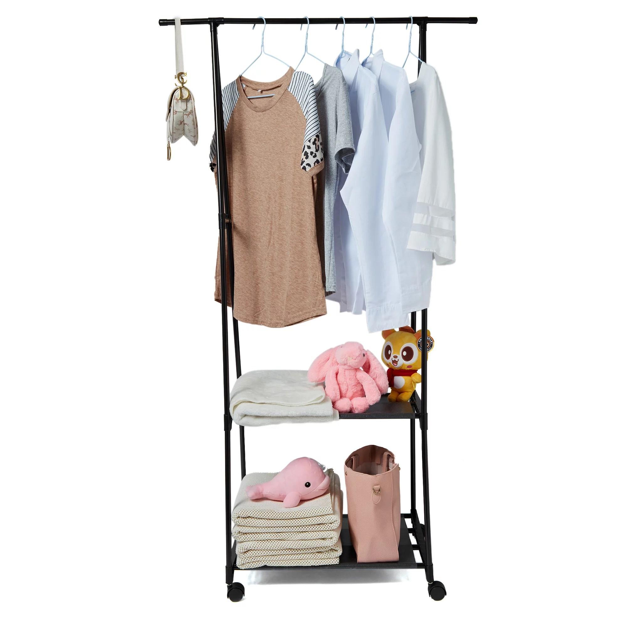 2 tier garment rack triangle coat wheel rack removable clothes hanging hanger clothes storage standing garment rack 160 42 55cm