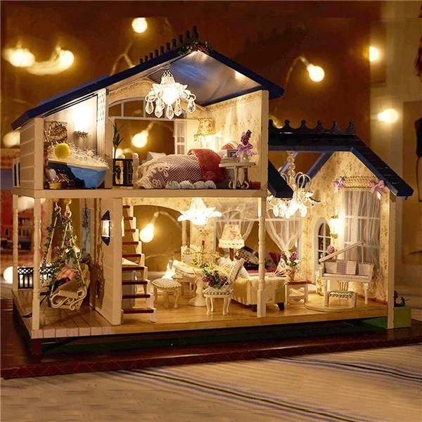 music led light miniature provence dollhouse diy kit wooden doll house model toy with furniture home decoration